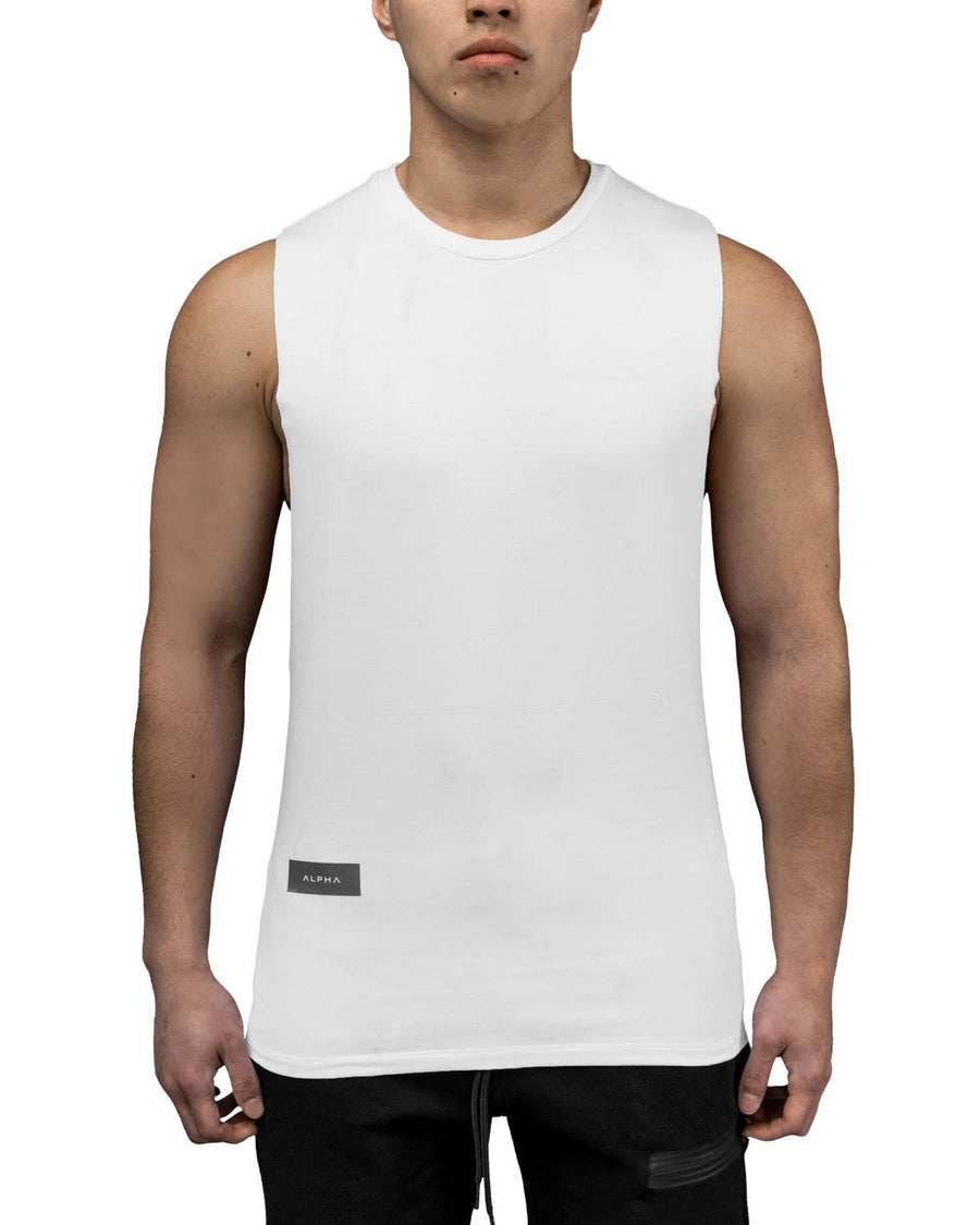 Deep Cut Gym Tank - White
