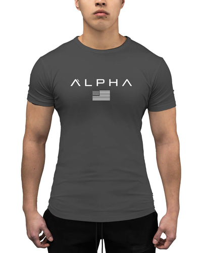 Alpha Flag Athleti-Fit Tee - Alpha Flag Athleti-Fit™ Tee - Charcoal/White
