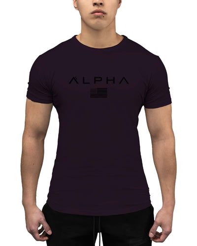 Alpha Flag Athleti-Fit Tee - Alpha Flag Athleti-Fit™ Tee - Nightshade/Black