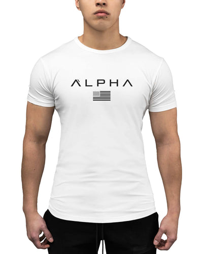 Alpha Flag Athleti-Fit Tee - Alpha Flag Athleti-Fit™ Tee - White/Black