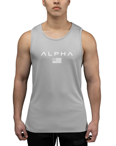 Alpha Flag Athleti-Fit Tank - Alpha Flag Athleti-Fit™ Tank - Grey/White