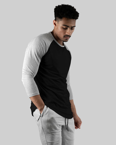 Raglan Athleti-Fit™ - Stamped - Black Base/ Grey