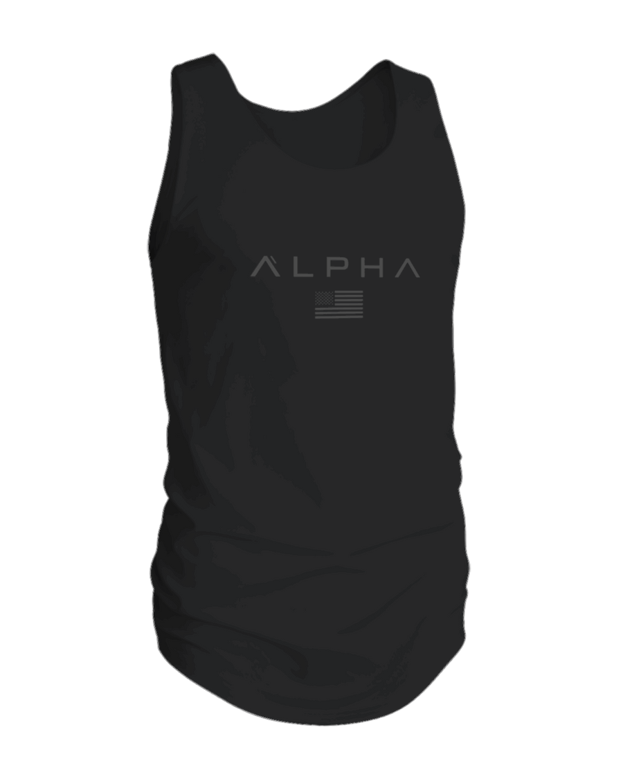 Alpha Clothing Black-Grey Flag Athleti-fit Tank Top