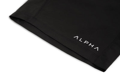 black shorts by the alpha clothing company