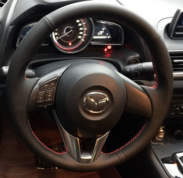 Mazda 2 3 6 CX3 CX5 MX5 DIY Leather Steering Wheel Wrap