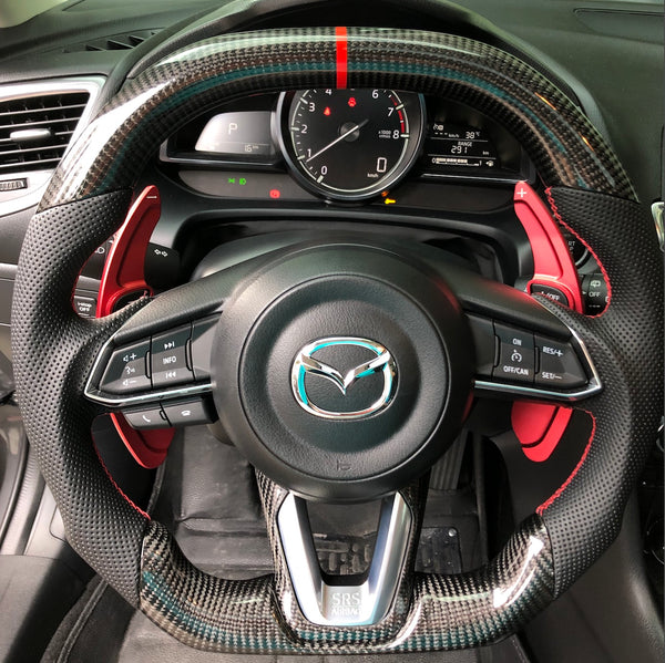 Carbon fiber steering wheel assembly for Mazda 2 3 6 CX3 CX5 CX9