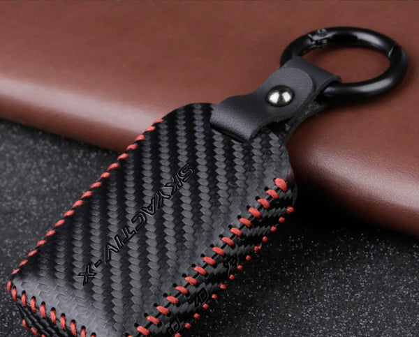 Mazda 3 2020 leather key cover carbon fiber design 2/3 button