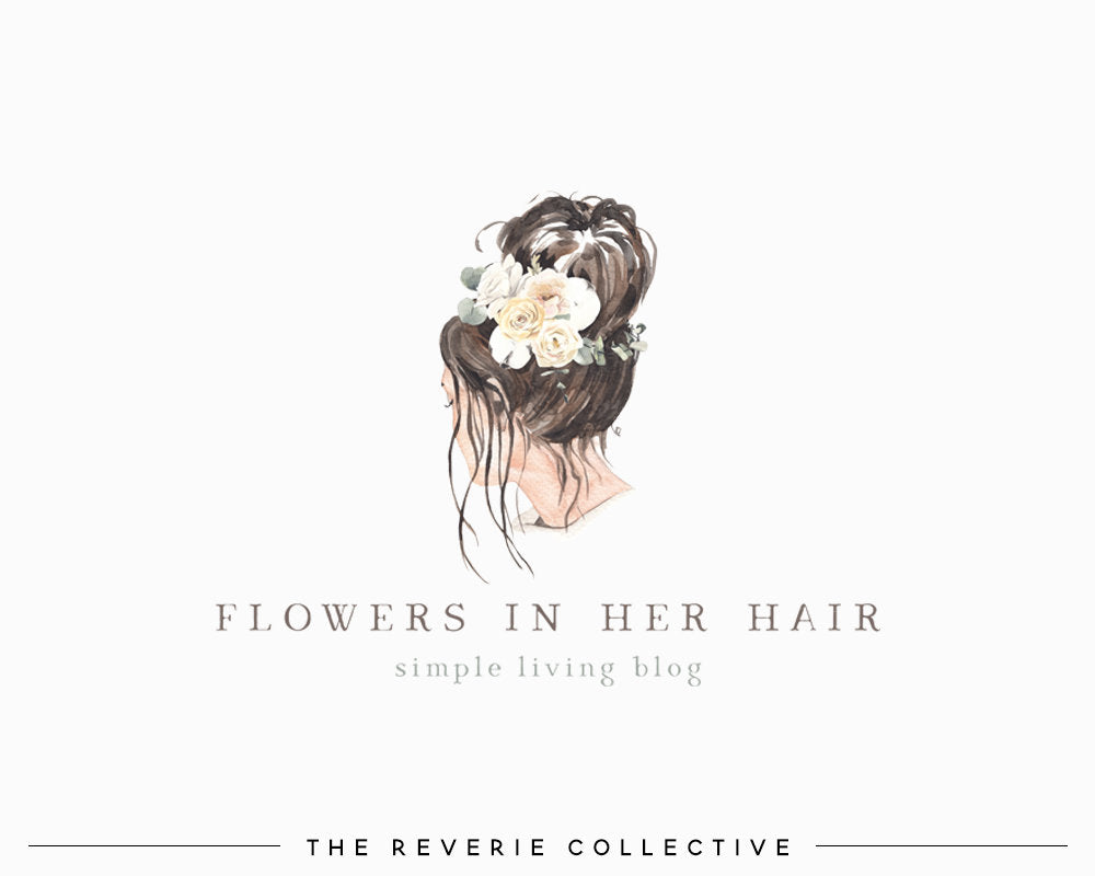 Watercolor Girl With Messy Bun Logo Flower Crown Premade Design The Reverie Collective