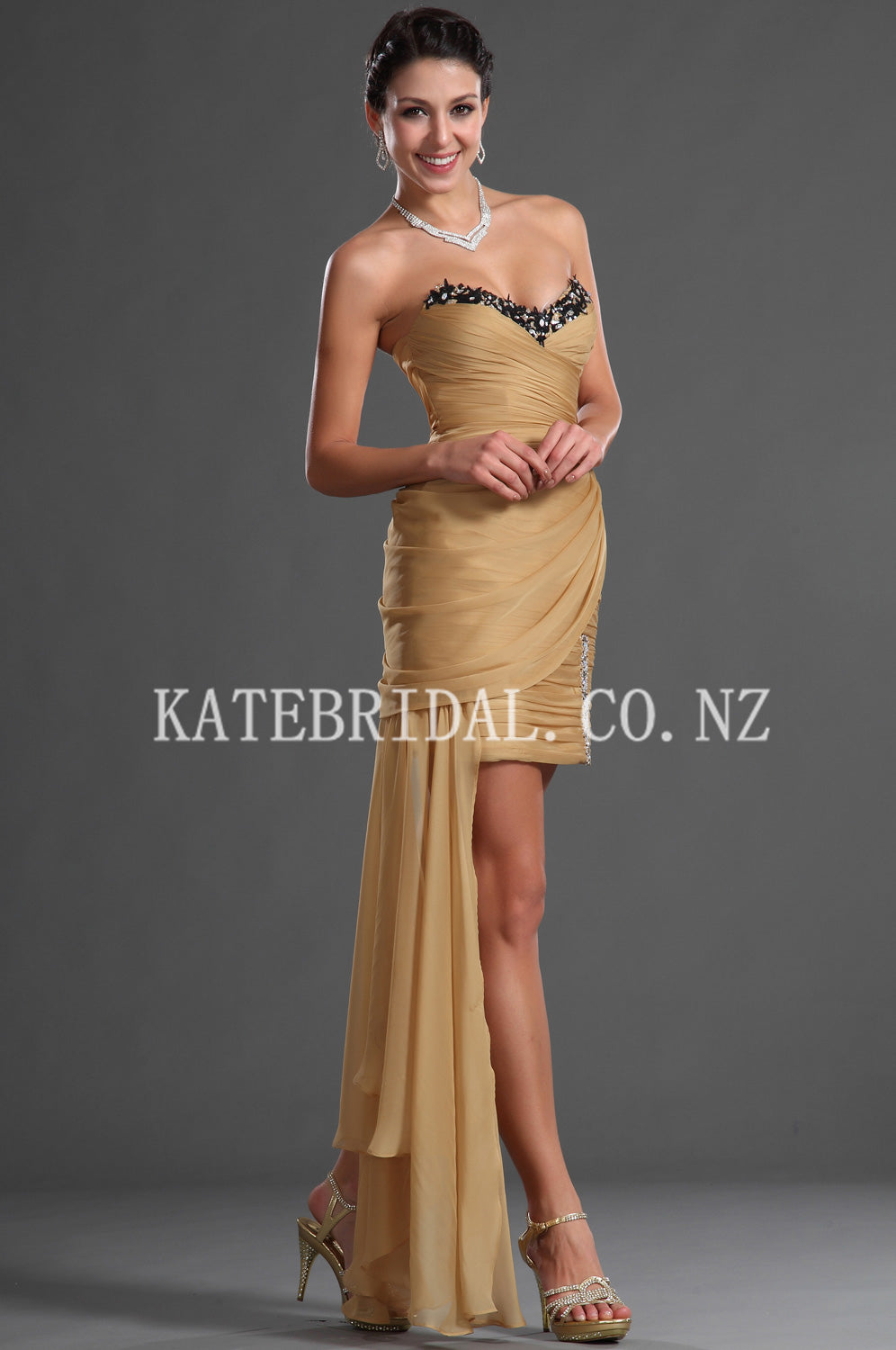 Appliqued Sweetheart Strapless Asymmetrical Short Sheath Ruched Chiffon Cocktail Dress