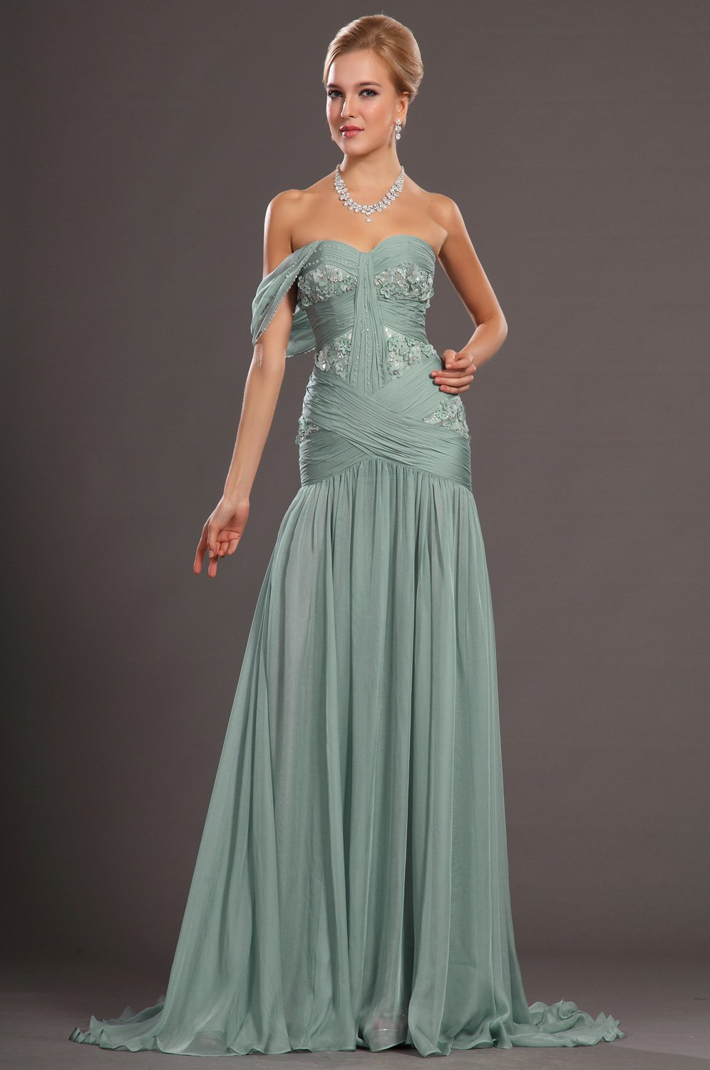 Beading Floral One Shoulder Zipper-Up Long Fit and Flare Chiffon Evening Dress