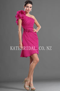 Rhinestone One Shoulder Short Solid Sheath Fuchsia Ruched Chiffon Cocktail Dress