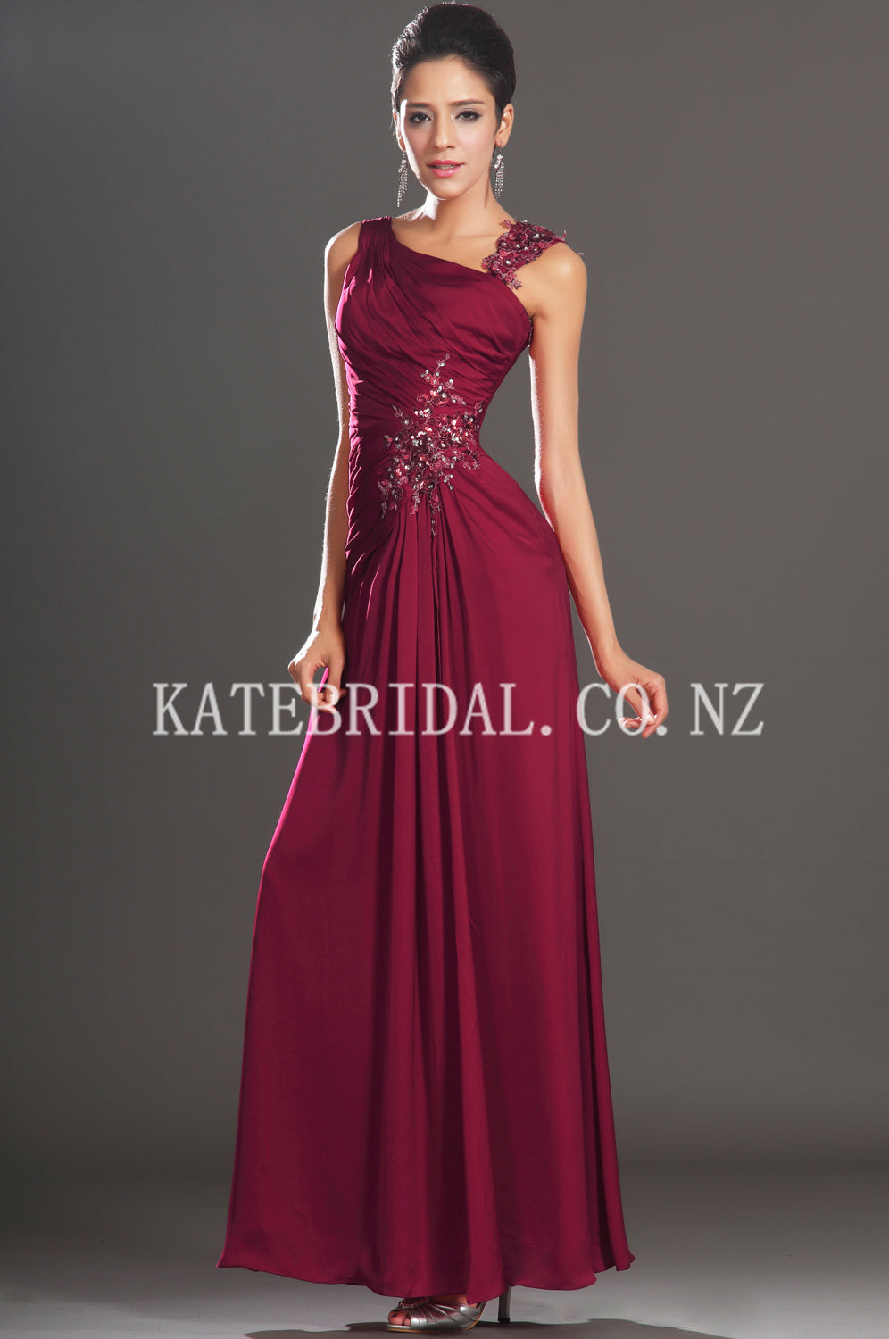 Irregular Straps Ankle-Length Solid Ruched Slit Chiffon Evening Dress With Applique