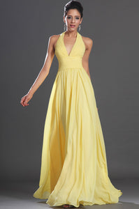 Halter Neck Sleeveless Backless Floor-Length Solid Ruched Chiffon Evening Dress
