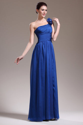 Beading Floral One Shoulder Sleeveless Zipper-Up Floor-Length Solid Ruched Chiffon Evening Dress