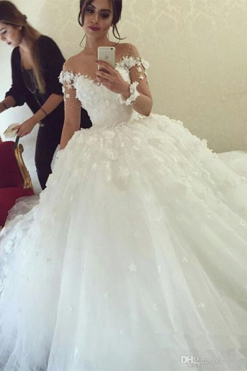 Illusion Long Sleeve Tulle Ball Gown Wedding Dress With Applique