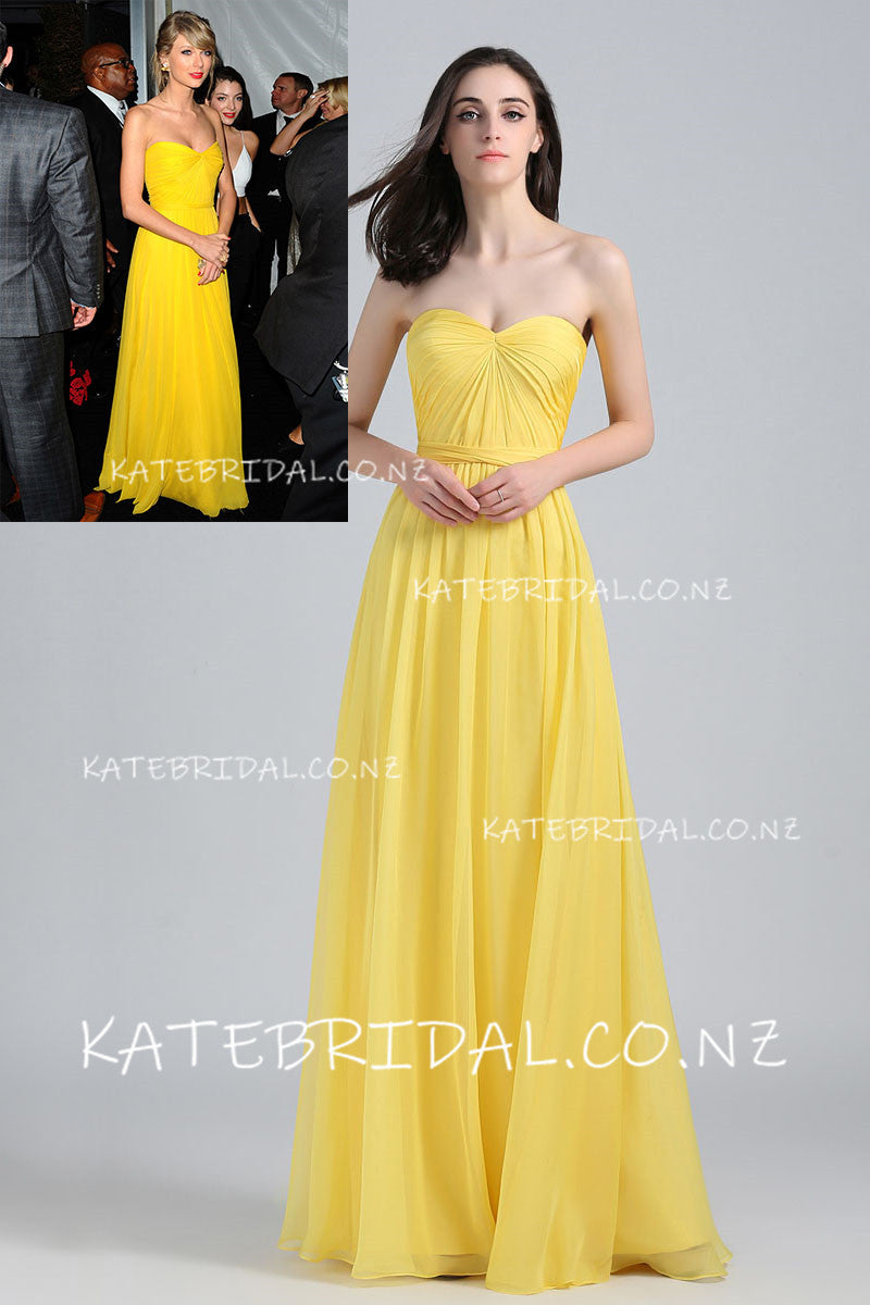 Yellow Chiffon Sweetheart Strapless Floor-Length Celebrity Dress