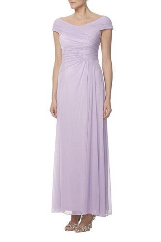 Off-The-Shoulder Cap Sleeve Ankle-Length Ruched Chiffon Sheath Bridesmaid Dress