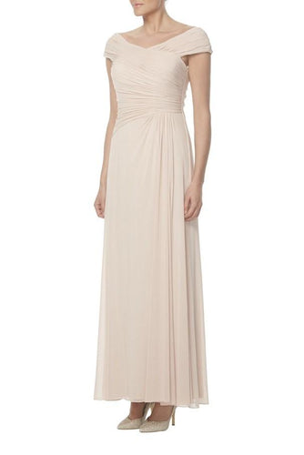 Off Shoulder Cap Sleeve Ankle-Length Solid Ruched Sheath Bridesmaid Dress