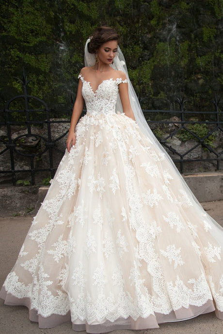 Princess Off-The-Shoulder Ball Gown Bridal Dress With Lace Applique