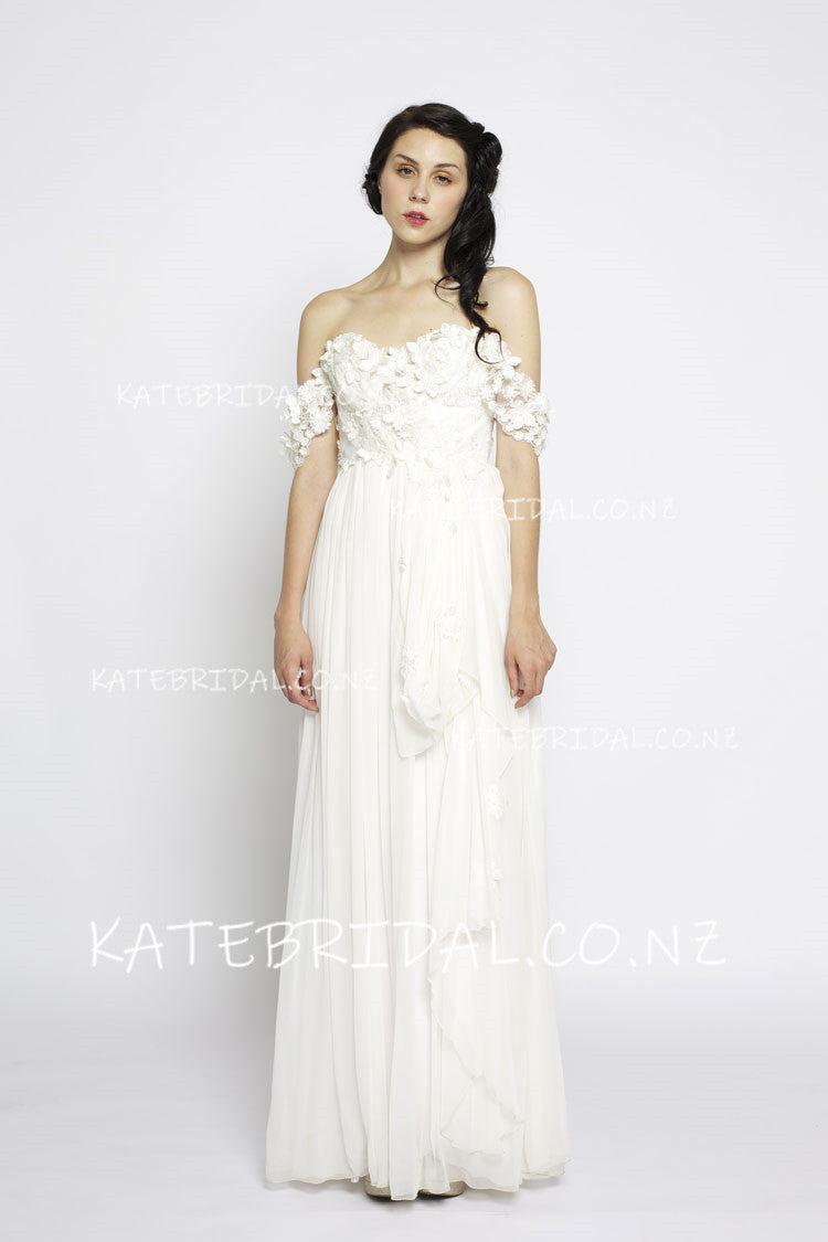 Sweetheart Strapless Backless Floor Length Chiffon Bridal Dress