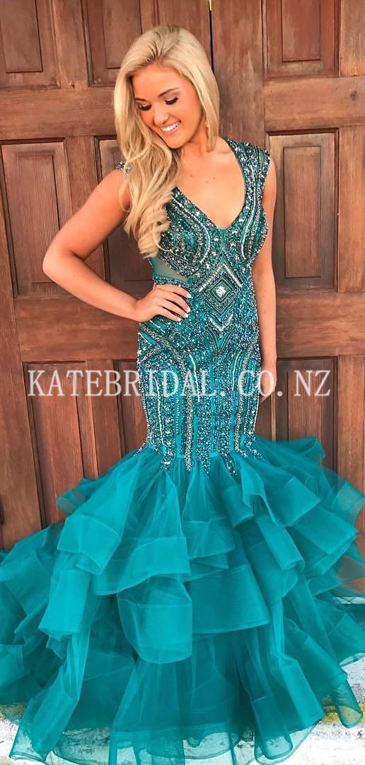 Beading Rhinestone V-Neck Cap Sleeves Open Back Floor-Length Mermaid Evening Dress