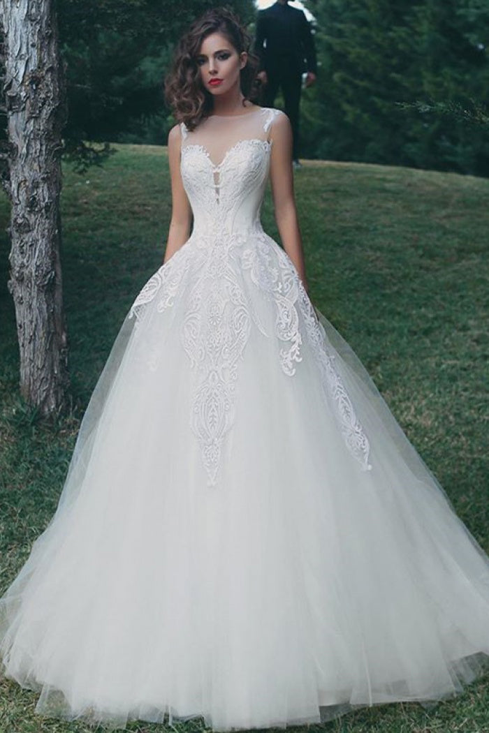Illusion Bateau Neck Tulle Ball Gown Bridal Dress With Applique