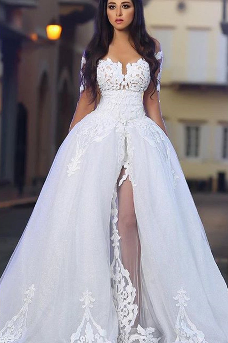 7b2bb280dd66f Appliqued Long Sleeve Off-The-Shoulder Ball Gown Bridal Dress With Slit
