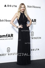 Key-Hole Jewel Neck Floor-Length Black Sheath Chiffon Celebrity Dress