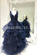 Plunging V-Neck Tiered Ruffle Backless Floor-Length Organza Evening Dress
