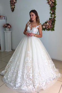 Appliqued Open Back Court Train Ball Gown Bridal Dress With Lace Bodice