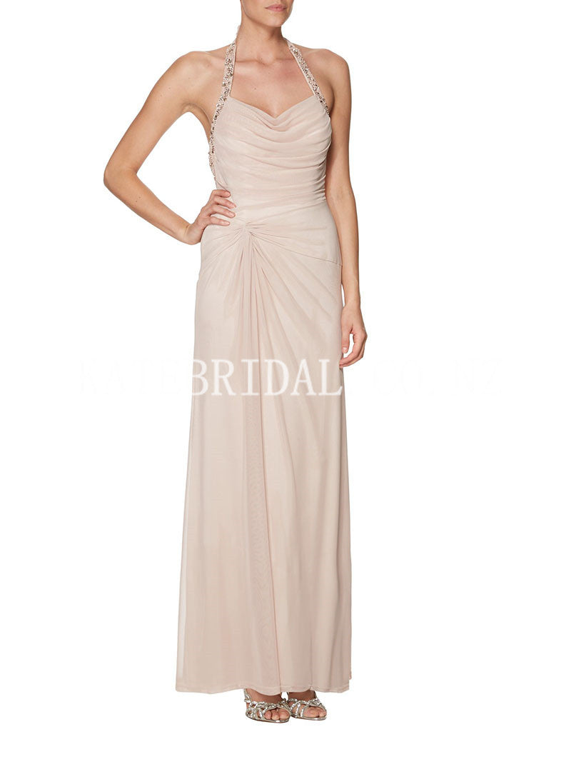 Beaded Halter Backless Ankle-Length Chiffon Sheath Bridesmaid Dress With Ruching