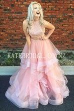 Beading Ruffles High Neck Sleeveless Two Piece Floor-Length Tulle Evening Dresses