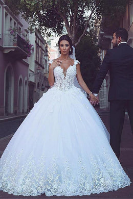 Princess Plunging V-Neck Cap Sleeve Cathedral Train Classical Ball Gown Wedding Dress With Applique