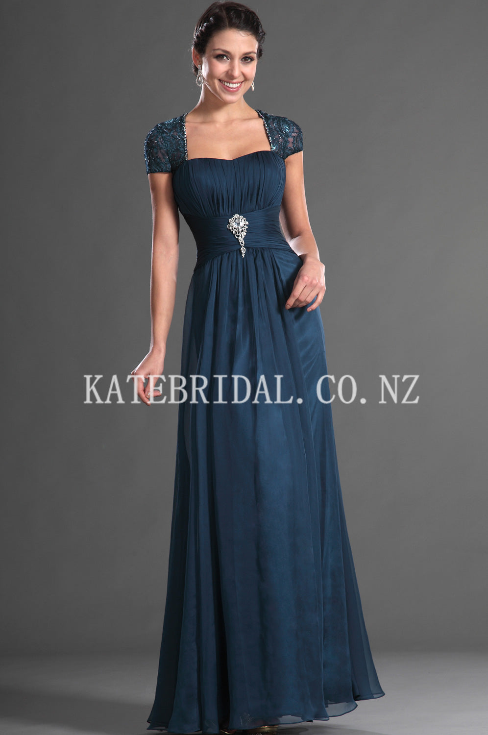 Beading Square Neck Short Sleeves Open Back Floor-Length Ruched Chiffon Evening Dress