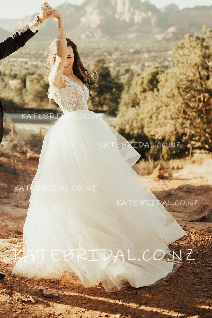 Illusion Lace Bodice Backless Bateau Long Sleeve Tulle Wedding Dress