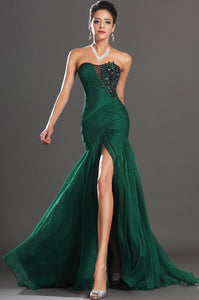 Applique Rhinestone Strapless Sleeveless Zipper-Up Long Solid Ruched Mermaid Evening Dress