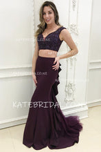 Two-Piece V-Neck Jersey Mermaid Prom Dress With Ruffles