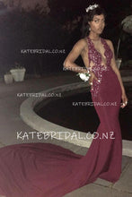 Sequinned Lace Bodice Backless Halter Burgundy Jersey Court Train Prom Dress