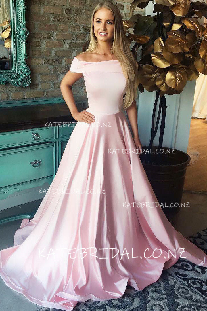 Off-The-Shoulder A-Line Pink Elastic Woven Satin Prom Dress