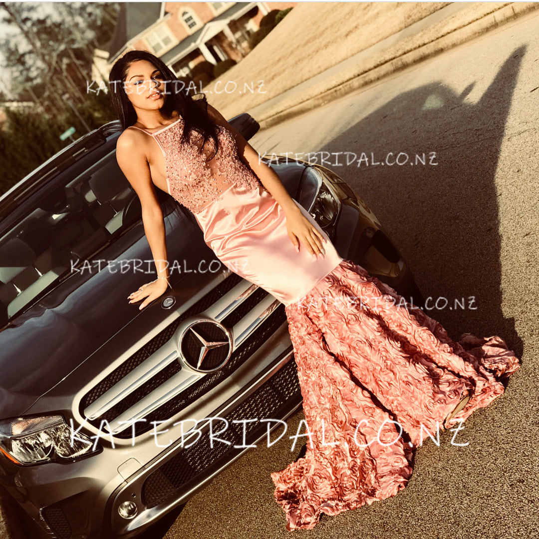 Appliqued Spaghetti Strap Illusion Mermaid Prom Dress With Floral Skirt