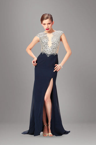 Rhinestone Scoop Neck Cap Sleeves Long Fit-And-Flare Slit Chiffon Evening Dress