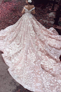 Luxurious Off-The-Shoulder Cathedral Train Ball Gown Wedding Dress With Applique