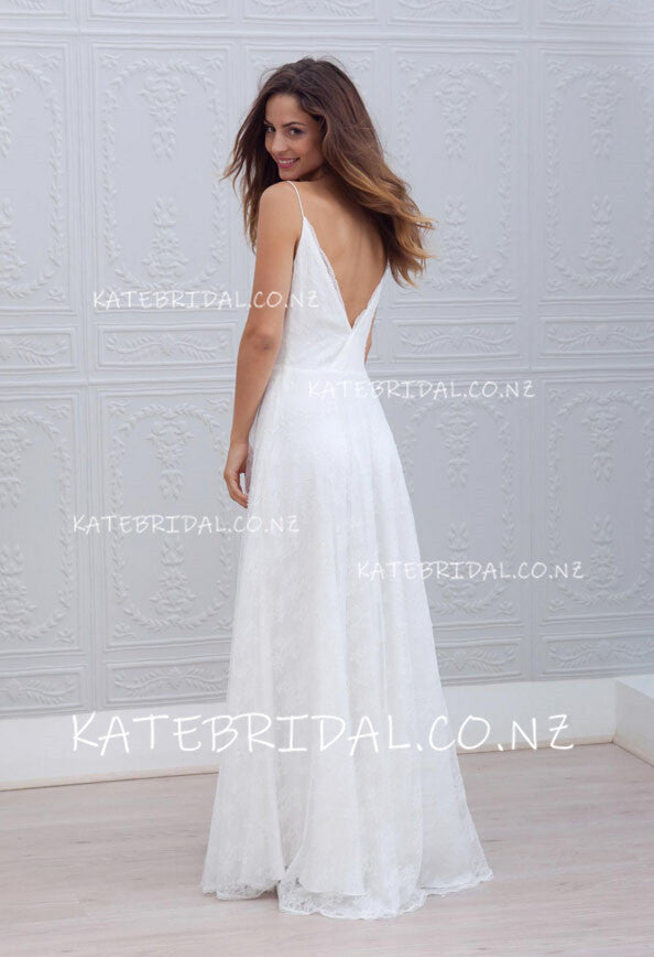 Chic Lace Spaghetti Strap V-Neck A-Line Floor Length Bridal Dress