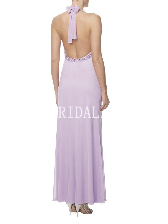 Sheath Halter Open Back Ankle-Length Chiffon Bridesmaid Dress With Ruching & Beads