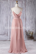 Pearl Beaded Spaghetti Strap Brush Train Chiffon Bridesmaid Dress