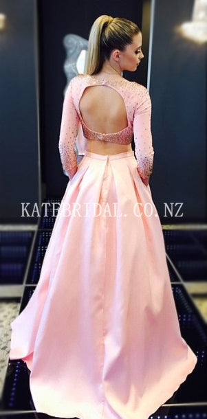 Bateau Neck Long Sleeves Open Back Two Piece Long Solid Satin Evening Dresses