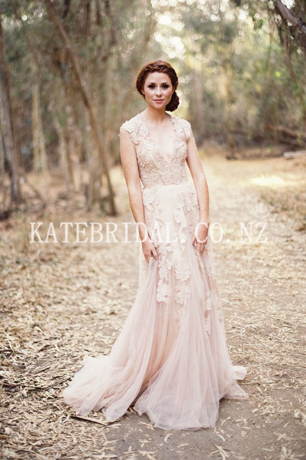 Applique Plunging Neck Cap Sleeves Long Solid Tulle Wedding Dress with Sweep Train