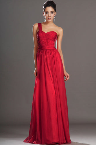 Red Lace One Shoulder Sleeveless Zipper-Up Floor-Length Solid Ruched Chiffon Evening Dress