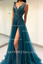 Appliqued Tulle V-Neck Sweep Train Formal Dress With Thigh Split