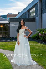 Beaded A-Line Off-The-Shoulder Tulle Illusion Wedding Dress